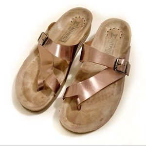 Mephisto Slip on Leather Sandals in Bronze Color